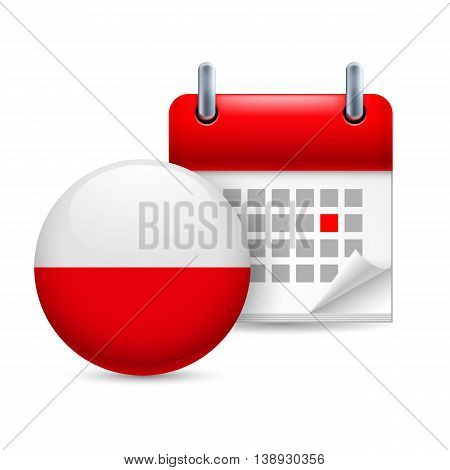 Calendar and round Polish flag icon. National holiday in Poland