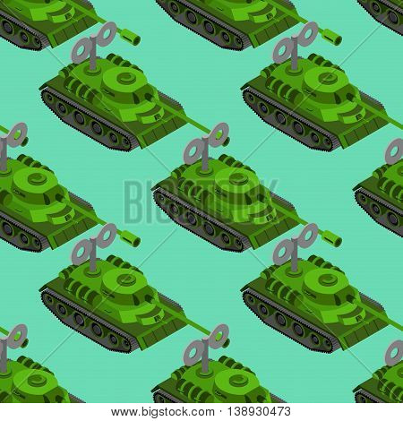 Toy Tank Isometric Seamless Pattern. Military Vehicle Toy Clockwork Background. Army Machinery Backg