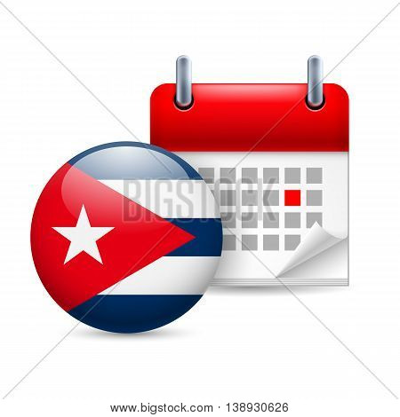 Calendar and round Cuban flag icon. National holiday in Cuba