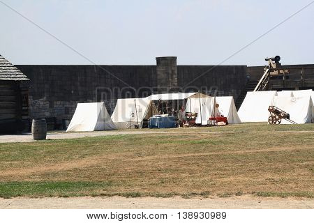 NIAGARA FORT NY - MAY 30; Inside Fortress of Niagara Fort State Park New York expects visitors for demonstrations (tent camp with medical tent) for celebration of Memorial Day May 30 2016