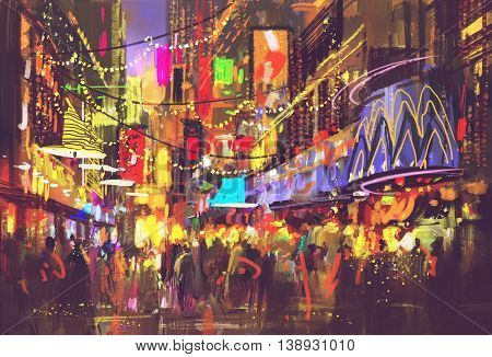 people in city street with illumination and night life, digital painting