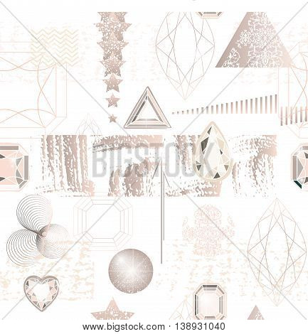 Trendy Modern Seamless Pattern With Abstract Geometric Shapes, Crystals, Diamonds