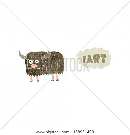 freehand retro cartoon hairy cow farting