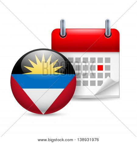 Calendar and round flag icon. National holiday in Antigua and Barbuda