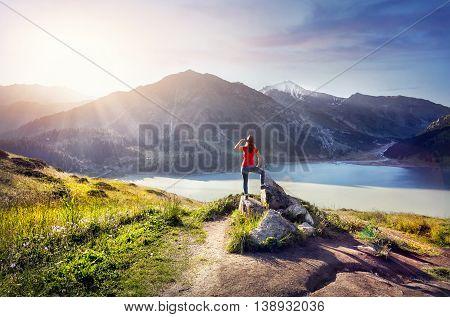 Tourist Woman At The Mountains