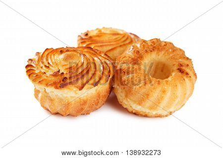 Tasty Cheese Muffins Isolated On White