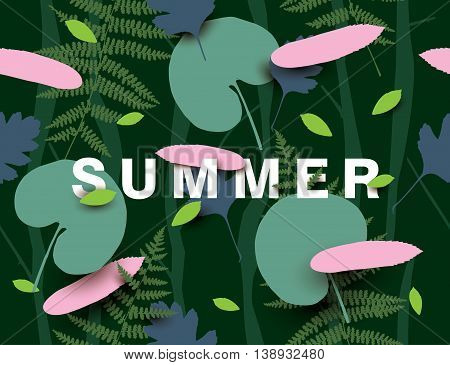 Summer background with different leaves. Modern vector illustration with falling leaves in the dark forest.