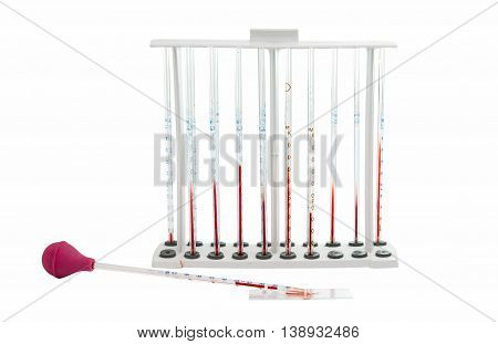 pipette with blood isolated on white background