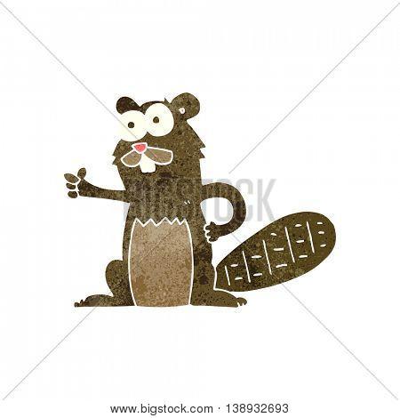 freehand retro cartoon beaver