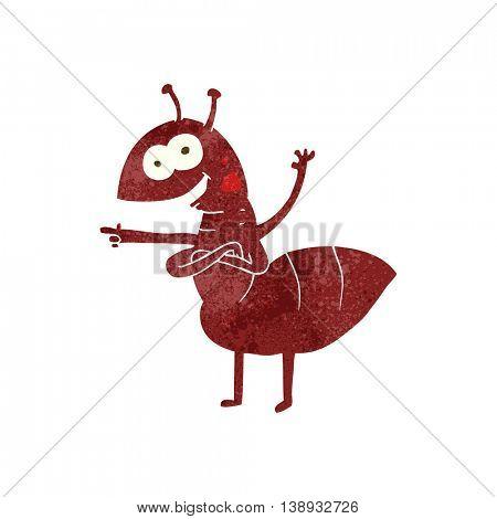 freehand retro cartoon ant