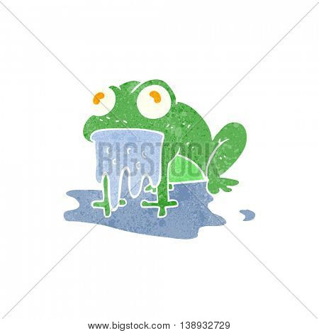 freehand retro cartoon gross little frog
