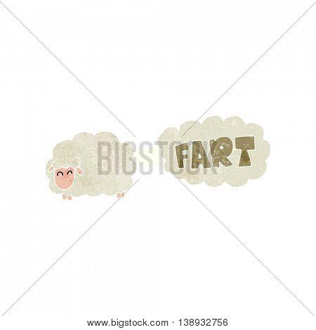 freehand retro cartoon farting sheep