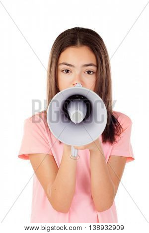 Pretty preteenager girl with a megaphone isolated on a white background