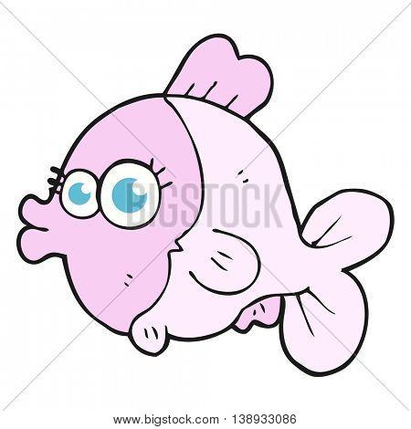 funny freehand drawn cartoon fish with big pretty eyes