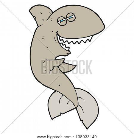 freehand drawn cartoon laughing shark