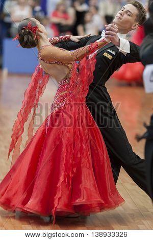 Minsk Belarus -May 28 2016: Egorov Vladislav and Chaplinskaya Tatiana Performs Juvenile-1 Standard European Program on National Championship of the Republic of Belarus in May 28 2016 in Minsk Republic of Belarus