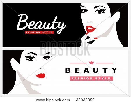 Fashion girl with black hair. Beautiful female face. Two banners