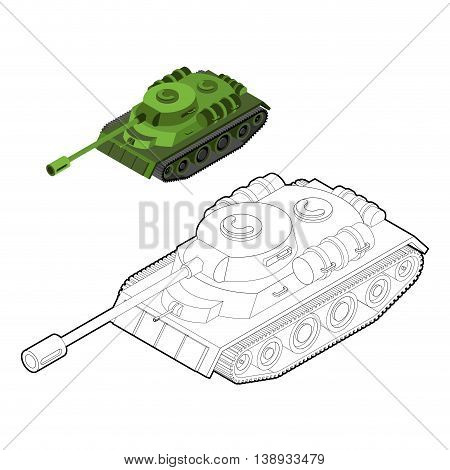 Tank Coloring Book. Army Equipment In Linear Style. Armored Fighting Vehicles, Tracked With Gun And