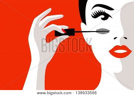 Illustration of a girl in his hand mascara for eyes