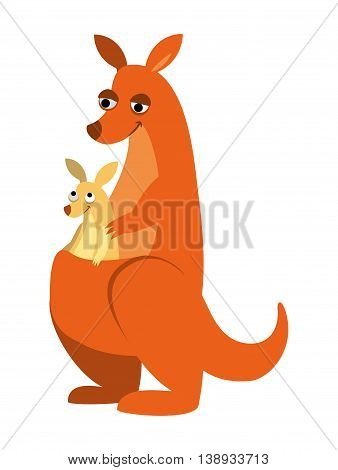 vector illustration cheerful kangaroo with a baby