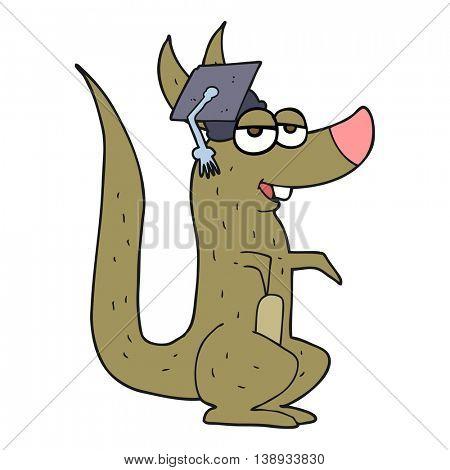 freehand drawn cartoon kangaroo with graduation cap