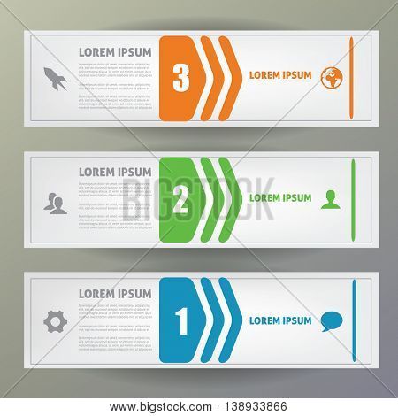 Web banners vector template with numbers and icon.