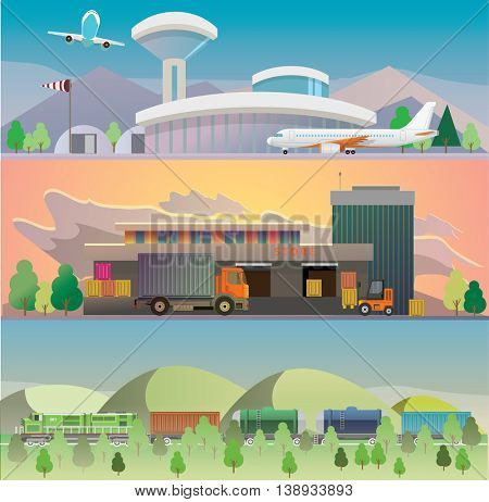 Logistic concept flat banners set of vehicle, rail and air transport delivery services abstract isolated vector illustration