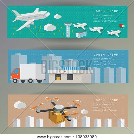 Logistic concept flat banners set of vehicle and air transport delivery services abstract isolated vector illustration