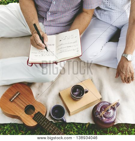 Couple Lovers Ukulele Relationship Togetherness Concept