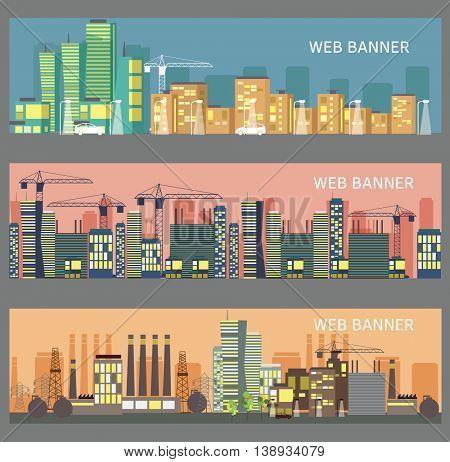 City landscapes. Flat design vector illustration. Web banners.