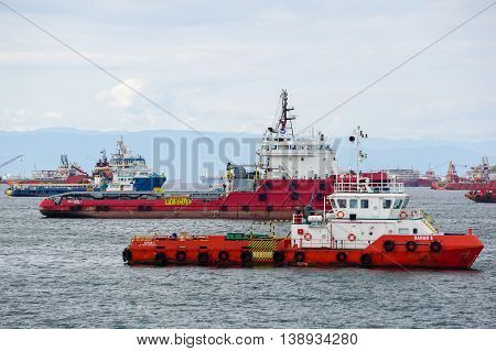 Labuan,Malaysia-July 15,2016:The Supply vessels transporting cargo at Labuan island.Labuan strategically located in the hub of AsiaPacific & the ASEAN offshore oil gas exploration & production region