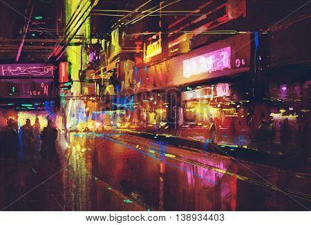 city street with illumination and night life, digital painting