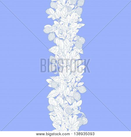 Seamless border of twigs blueberry and raspberry with berries and leaves on a blue background. Berries are painted by hand painted blue lines and white flowers. Vector illustration