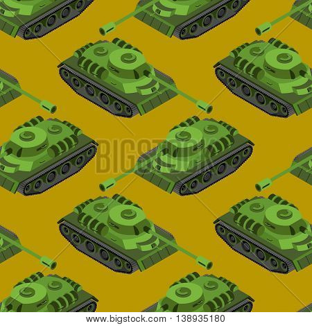 Tank Isometric Seamless Pattern. Army Machinery Texture. Armored Fighting Vehicles, Tracked With Gun