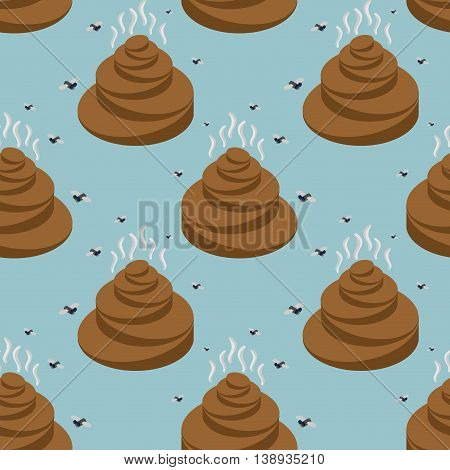Shit Isometric Seamless Pattern. Turd And Fly Texture. Stools Ornament. Feces And Stench Background.