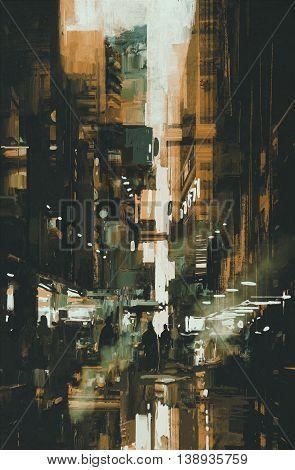 city street at night, narrow alley, illustration digital painting