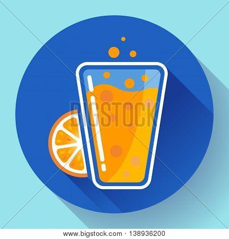Flat orange ice tea drink icon glass. Orange juice glass