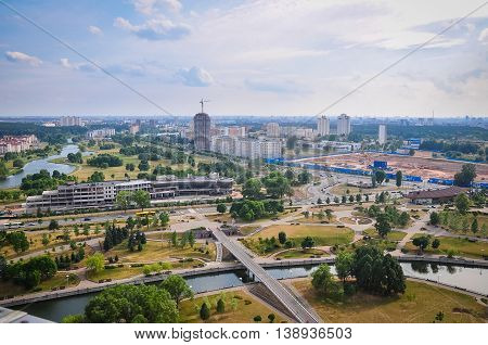 The view from the observation platform of the National Library in the Pervomaisky district of the city of Minsk.