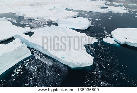 icebergs are ont the arctic ocean in Greenland
