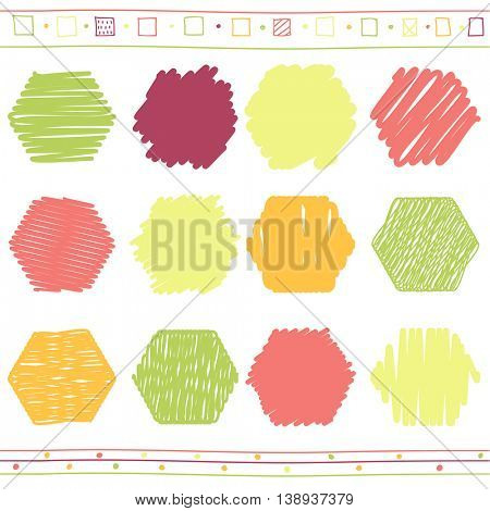 Vector collection of retro scribbled hexahedrons with hand drawn style of of green, orange, pink and red color