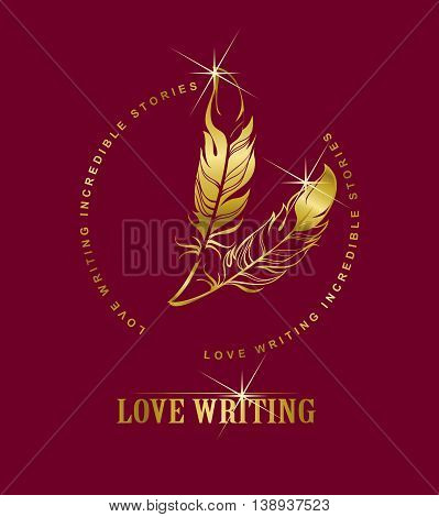 vector emblem golden pen writing on a burgundy background, Marsala