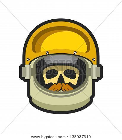 vector illustration poster space helmet with a skull