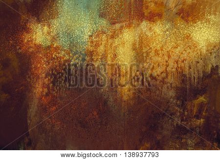 art abstract grunge background with rusted metal color, digital painting