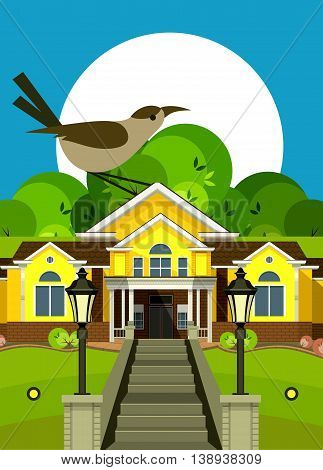 vector illustration Flyer or Cover Vacation Home grand staircase decorated streetlights big bird as a symbol of nature and summer