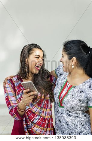 Women Friendship Togetherness Communication Mobile Phone Concept