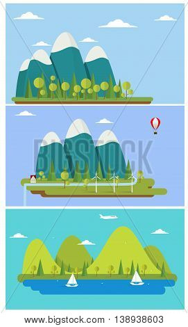 Three flat design nature landscape banners with sun, hills, clouds and waterfall. Vector illustration