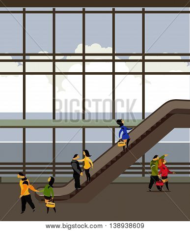 vector illustration of the airport building, people move up the escalator