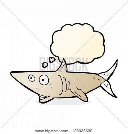cartoon happy shark with thought bubble