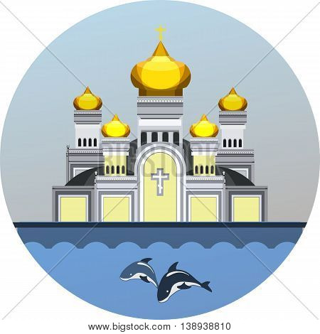 Round vector emblem orthodox church on the waterfront