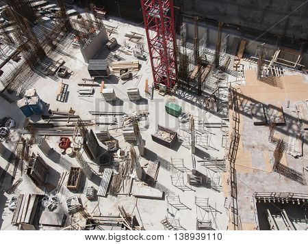 Aerial view of the construction site of a building